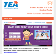 Parent Access to STAAR Student Portal Webpage Clip; Learn More About Your Child's Score